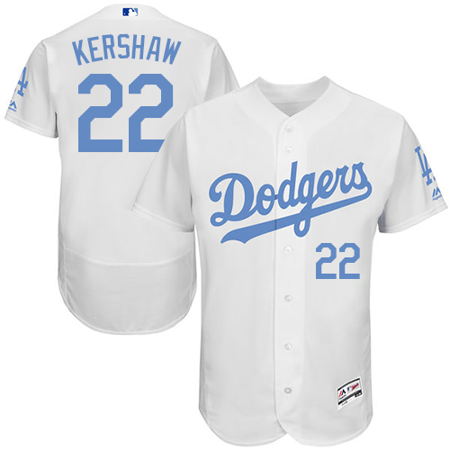 Men's Majestic Los Angeles Dodgers #22 Clayton Kershaw Authentic White 2016 Father's Day Fashion Flex Base MLB Jersey