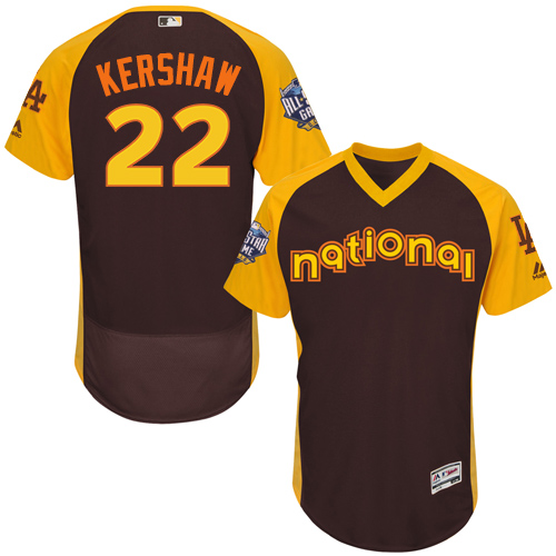 Men's Majestic Los Angeles Dodgers #22 Clayton Kershaw Brown 2016 All-Star National League BP Authentic Collection Flex Base MLB Jersey