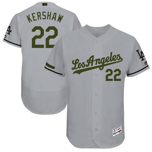 Men's Majestic Los Angeles Dodgers #22 Clayton Kershaw Grey Memorial Day Authentic Collection Flex Base MLB Jersey