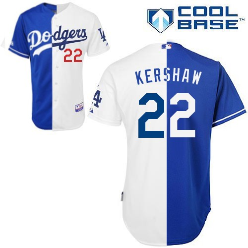 Men's Majestic Los Angeles Dodgers #22 Clayton Kershaw Replica Blue/White Cool Base MLB Jersey