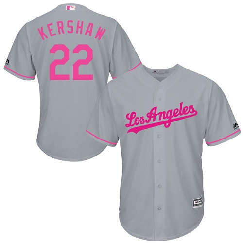 Men's Majestic Los Angeles Dodgers #22 Clayton Kershaw Replica Grey 2016 Mother's Day Cool Base MLB Jersey
