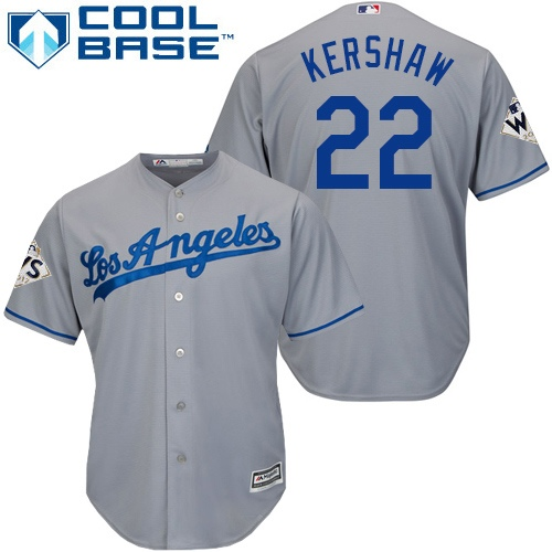 Men's Majestic Los Angeles Dodgers #22 Clayton Kershaw Replica Grey Road 2017 World Series Bound Cool Base MLB Jersey