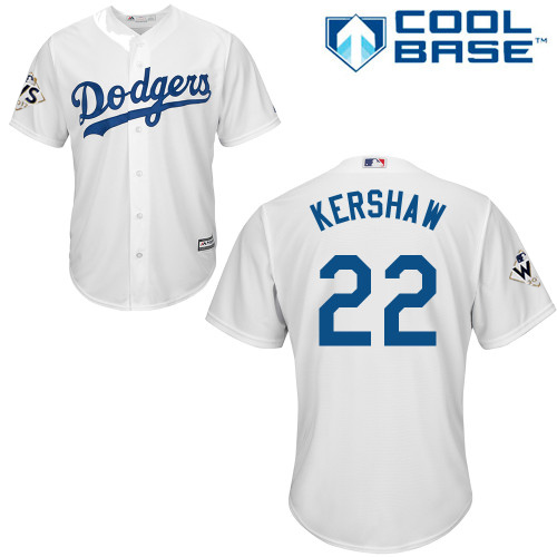 Men's Majestic Los Angeles Dodgers #22 Clayton Kershaw Replica White Home 2017 World Series Bound Cool Base MLB Jersey