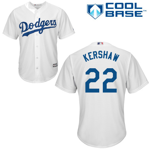 Men's Majestic Los Angeles Dodgers #22 Clayton Kershaw Replica White Home Cool Base MLB Jersey