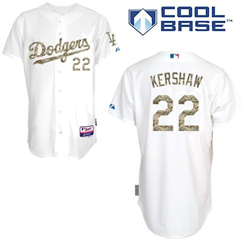 Men's Majestic Los Angeles Dodgers #22 Clayton Kershaw Replica White USMC Cool Base MLB Jersey