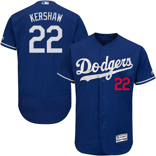 Men's Majestic Los Angeles Dodgers #22 Clayton Kershaw Royal Blue Flexbase Authentic Collection MLB Jersey