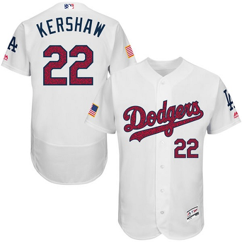 Men's Majestic Los Angeles Dodgers #22 Clayton Kershaw White Fashion Stars & Stripes Flex Base MLB Jersey