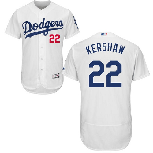 Men's Majestic Los Angeles Dodgers #22 Clayton Kershaw White Home Flex Base Authentic Collection MLB Jersey