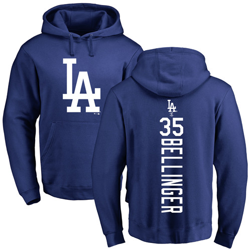 MLB Nike Los Angeles Dodgers #35 Cody Bellinger Royal Blue Backer Pullover Hoodie