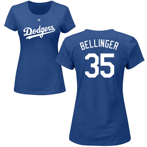 MLB Women's Nike Los Angeles Dodgers #35 Cody Bellinger Royal Blue Name & Number T-Shirt
