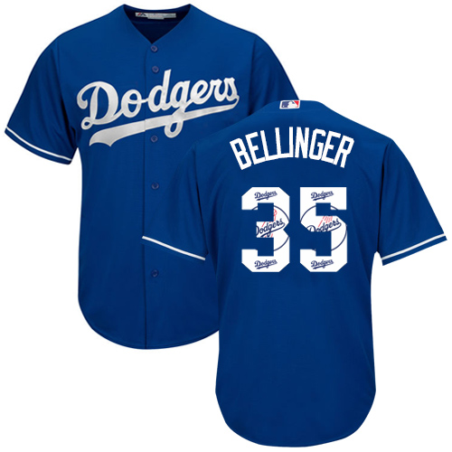 Men's Majestic Los Angeles Dodgers #35 Cody Bellinger Authentic Royal Blue Team Logo Fashion Cool Base MLB Jersey