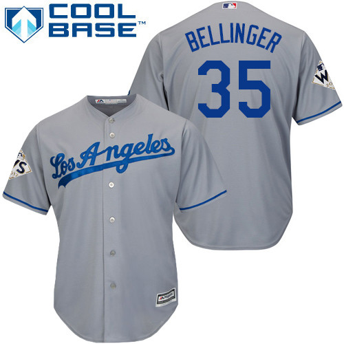 Men's Majestic Los Angeles Dodgers #35 Cody Bellinger Replica Grey Road 2017 World Series Bound Cool Base MLB Jersey