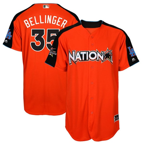 Men's Majestic Los Angeles Dodgers #35 Cody Bellinger Replica Orange National League 2017 MLB All-Star MLB Jersey