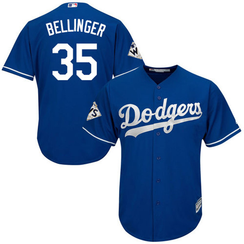 Men's Majestic Los Angeles Dodgers #35 Cody Bellinger Replica Royal Blue Alternate 2017 World Series Bound Cool Base MLB Jersey