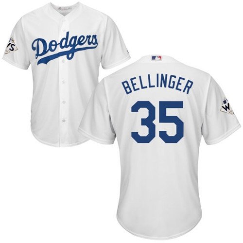 Men's Majestic Los Angeles Dodgers #35 Cody Bellinger Replica White Home 2017 World Series Bound Cool Base MLB Jersey