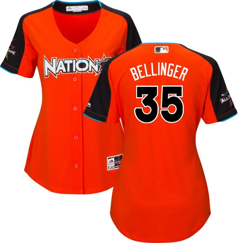 Women's Majestic Los Angeles Dodgers #35 Cody Bellinger Replica Orange National League 2017 MLB All-Star MLB Jersey