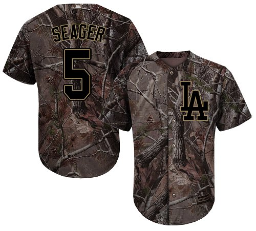 Men's Majestic Los Angeles Dodgers #5 Corey Seager Authentic Camo Realtree Collection Flex Base MLB Jersey