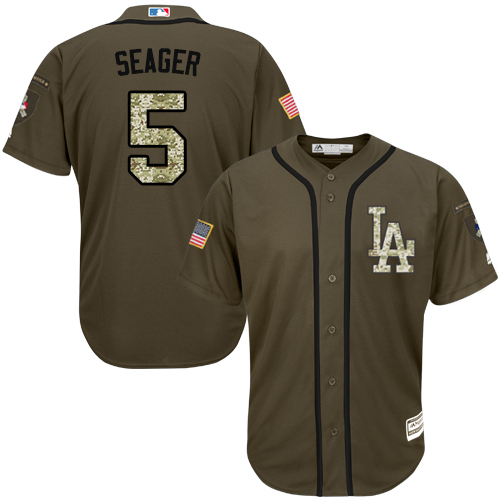 Men's Majestic Los Angeles Dodgers #5 Corey Seager Authentic Green Salute to Service MLB Jersey