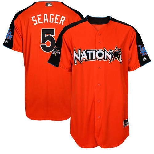 Men's Majestic Los Angeles Dodgers #5 Corey Seager Authentic Orange National League 2017 MLB All-Star MLB Jersey