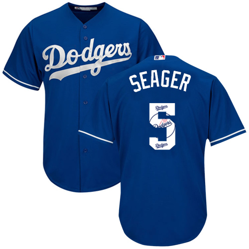 Men's Majestic Los Angeles Dodgers #5 Corey Seager Authentic Royal Blue Team Logo Fashion Cool Base MLB Jersey