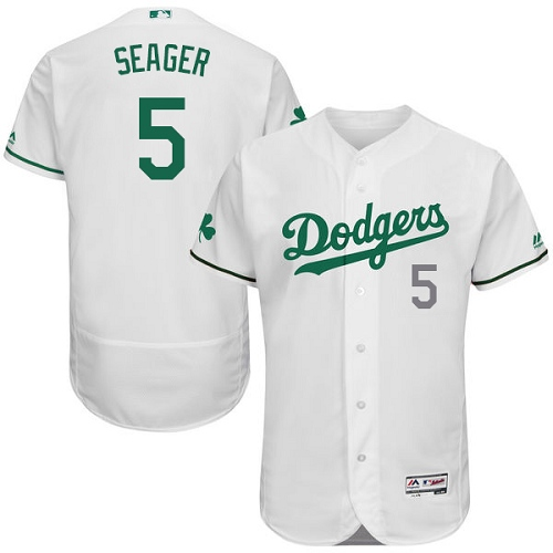 Men's Majestic Los Angeles Dodgers #5 Corey Seager White Celtic Flexbase Authentic Collection MLB Jersey