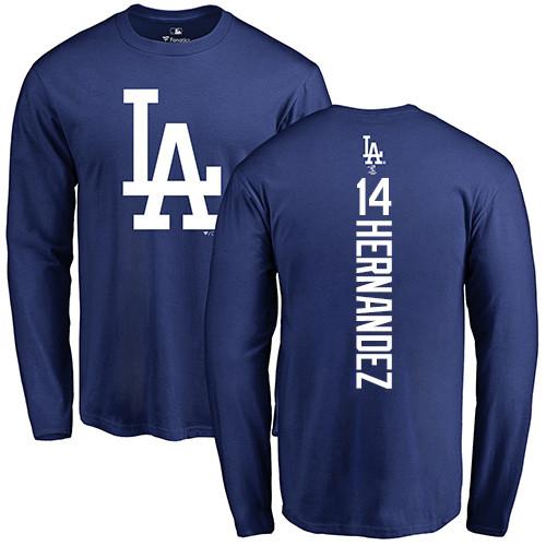 MLB Nike Los Angeles Dodgers #14 Enrique Hernandez Royal Blue Backer Long Sleeve T-Shirt