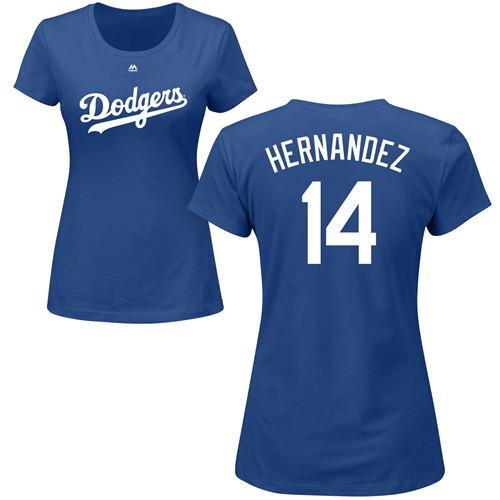 MLB Women's Nike Los Angeles Dodgers #14 Enrique Hernandez Royal Blue Name & Number T-Shirt