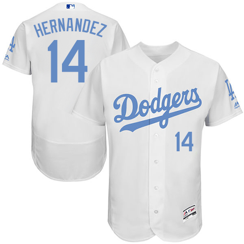 Men's Majestic Los Angeles Dodgers #14 Enrique Hernandez Authentic White 2016 Father's Day Fashion Flex Base MLB Jersey