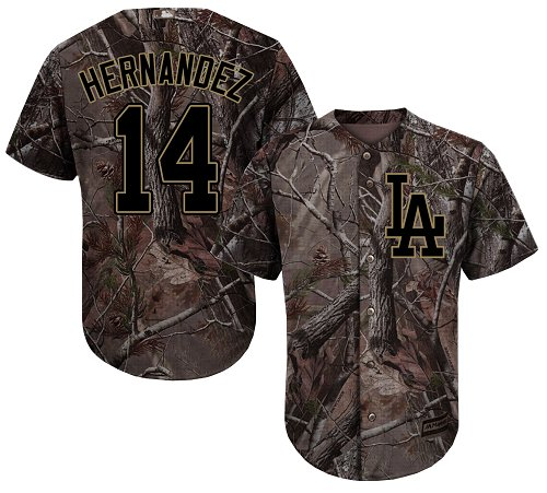 Youth Majestic Los Angeles Dodgers #14 Enrique Hernandez Authentic Camo Realtree Collection Flex Base MLB Jersey