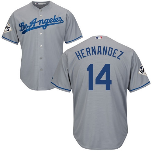 Youth Majestic Los Angeles Dodgers #14 Enrique Hernandez Authentic Grey Road 2017 World Series Bound Cool Base MLB Jersey