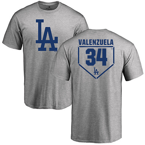 MLB Nike Los Angeles Dodgers #34 Fernando Valenzuela Gray RBI T-Shirt