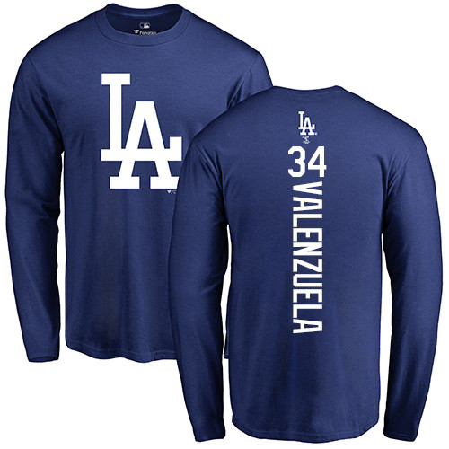 MLB Nike Los Angeles Dodgers #34 Fernando Valenzuela Royal Blue Backer Long Sleeve T-Shirt