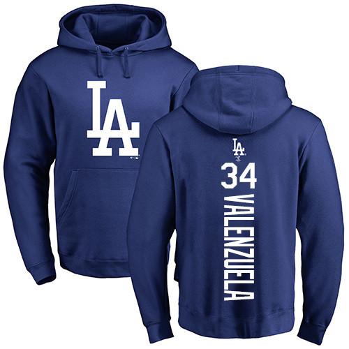 MLB Nike Los Angeles Dodgers #34 Fernando Valenzuela Royal Blue Backer Pullover Hoodie
