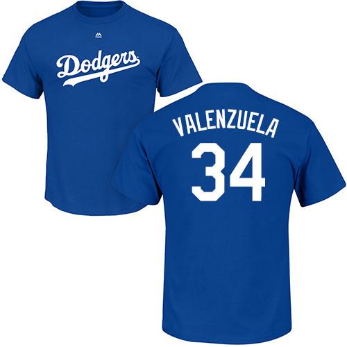 MLB Nike Los Angeles Dodgers #34 Fernando Valenzuela Royal Blue Name & Number T-Shirt