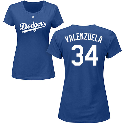 976c87cbc MLB Women s Nike Los Angeles Dodgers  34 Fernando Valenzuela Royal Blue  Name   Number T