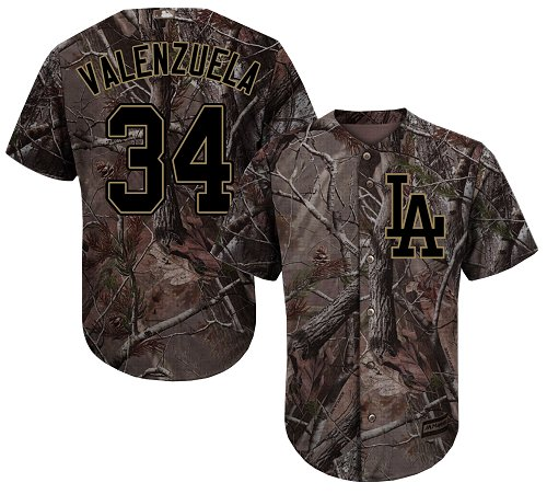 Men's Majestic Los Angeles Dodgers #34 Fernando Valenzuela Authentic Camo Realtree Collection Flex Base MLB Jersey