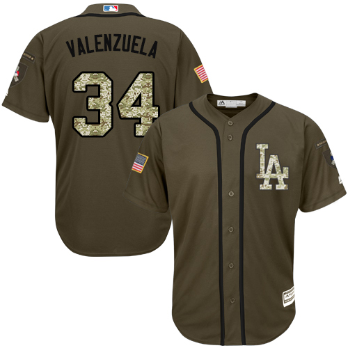 Men's Majestic Los Angeles Dodgers #34 Fernando Valenzuela Authentic Green Salute to Service MLB Jersey