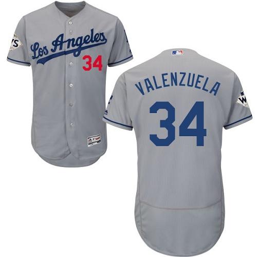 Men's Majestic Los Angeles Dodgers #34 Fernando Valenzuela Authentic Grey Road 2017 World Series Bound Flex Base MLB Jersey
