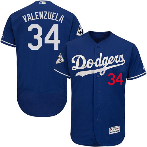 Men's Majestic Los Angeles Dodgers #34 Fernando Valenzuela Authentic Royal Blue Alternate 2017 World Series Bound Flex Base MLB Jersey