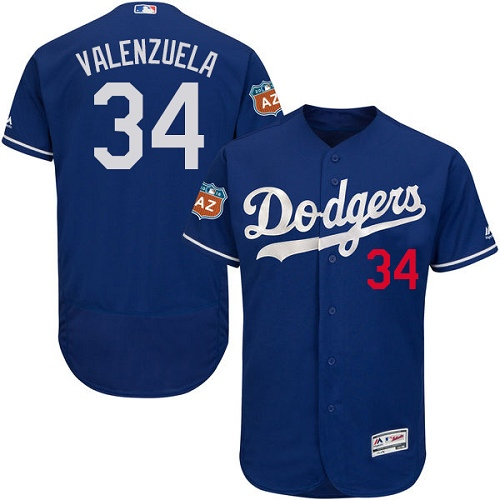 Men's Majestic Los Angeles Dodgers #34 Fernando Valenzuela Authentic Royal Blue Alternate Cool Base MLB Jersey