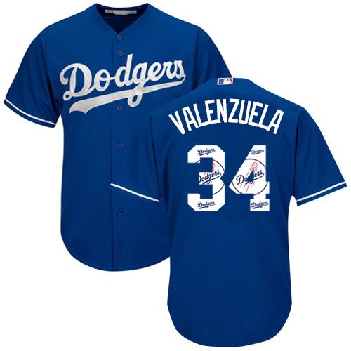 Men's Majestic Los Angeles Dodgers #34 Fernando Valenzuela Authentic Royal Blue Team Logo Fashion Cool Base MLB Jersey