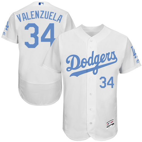 Men's Majestic Los Angeles Dodgers #34 Fernando Valenzuela Authentic White 2016 Father's Day Fashion Flex Base MLB Jersey