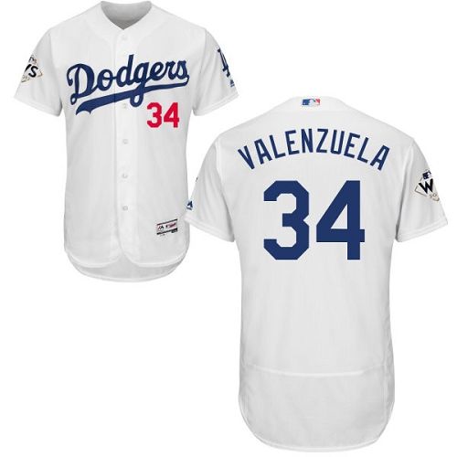 Men's Majestic Los Angeles Dodgers #34 Fernando Valenzuela Authentic White Home 2017 World Series Bound Flex Base MLB Jersey
