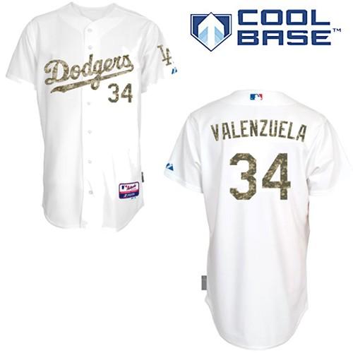 Men's Majestic Los Angeles Dodgers #34 Fernando Valenzuela Authentic White USMC Cool Base MLB Jersey