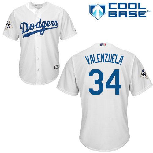 Men's Majestic Los Angeles Dodgers #34 Fernando Valenzuela Replica White Home 2017 World Series Bound Cool Base MLB Jersey