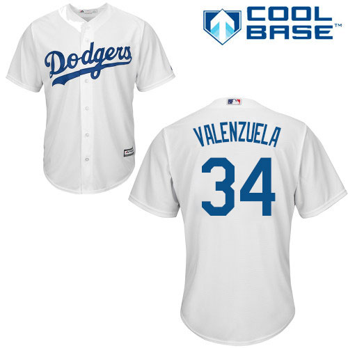 Men's Majestic Los Angeles Dodgers #34 Fernando Valenzuela Replica White Home Cool Base MLB Jersey