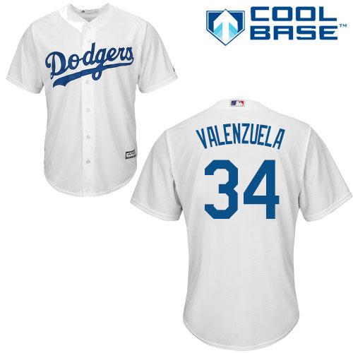 Men's Majestic Los Angeles Dodgers #34 Fernando Valenzuela Replica White Home Cool Base MLB Jersey