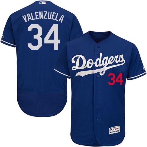 Men's Majestic Los Angeles Dodgers #34 Fernando Valenzuela Royal Blue Flexbase Authentic Collection MLB Jersey