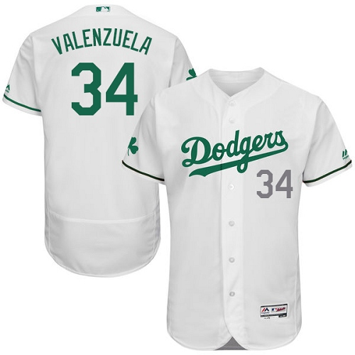 Men's Majestic Los Angeles Dodgers #34 Fernando Valenzuela White Celtic Flexbase Authentic Collection MLB Jersey