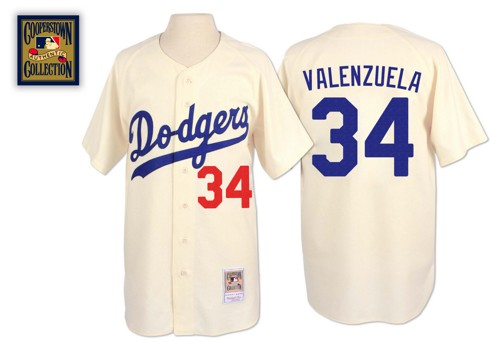 Men's Mitchell and Ness Los Angeles Dodgers #34 Fernando Valenzuela Replica Cream Throwback MLB Jersey